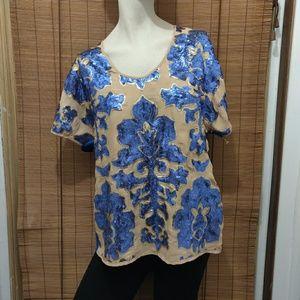 Neiman Marcus Tracy Reese Blue sequin medium top